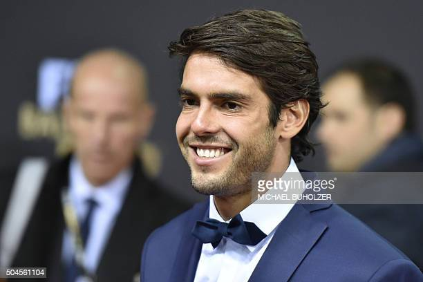 Brazil and Orlando City midfielder Kaka poses on the red carpet as he arrives for the 2015 FIFA Ballon d'Or award ceremony at the Kongresshaus in...