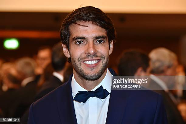 Brazil and Orlando City midfielder Kaka smiles as he arrives for the 2015 FIFA Ballon d'Or award ceremony at the Kongresshaus in Zurich on January 11...