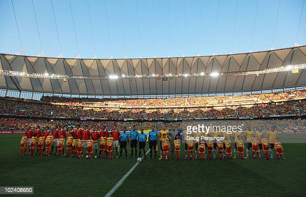 Brazil and Portugal line up prior to the 2010 FIFA World Cup South Africa Group G match between Portugal and Brazil at Durban Stadium on June 25 2010...