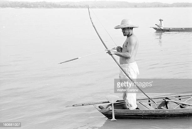 Brazil Brésil Période 19501955 Reportage sur le Brésil un chasseur de Caïman noir debout à la proue de sa pirogue observe le fleuve Amazone ou un de...