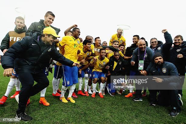 Brazil celebrate after winning the FIFA U20 World Cup New Zealand 2015 quarter final match between Brazil and Portugal held at Waikato Stadium on...