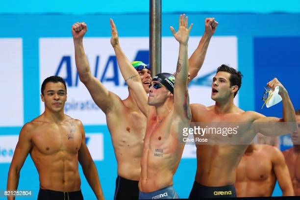 Brazil celebrate winning Silver during the Men's 4x100m Freestyle Final on day ten of the Budapest 2017 FINA World Championships on July 23 2017 in...