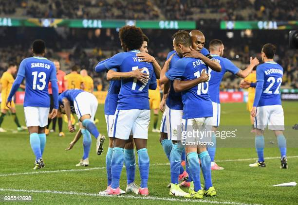 Brazil celebrate winning the Brazil Global Tour match between Australian Socceroos and Brazil at Melbourne Cricket Ground on June 13 2017 in...