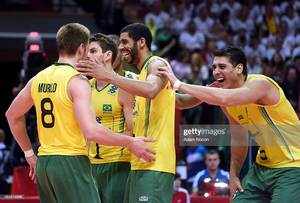 Brazil celebrates after the match at the FIVB World Championships game between Brazil and Germany on September 1, 2014 in Katowice, Poland.