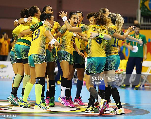 Brazil celebrates winning the Gold Medal after the Women's Handball Final at the Pan Am Games on July 24 2015 in Toronto Canada