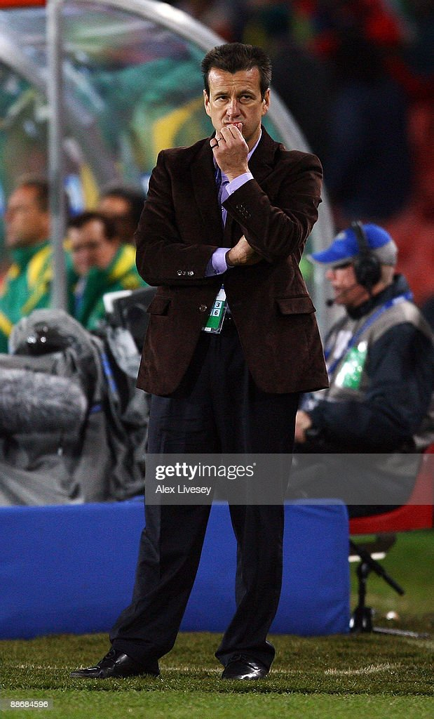 Brazil Coach Dunga looks on during the FIFA Confederations Cup Semi Final match beween Brazil and South Africa at Ellis Park on June 25 2009 in...