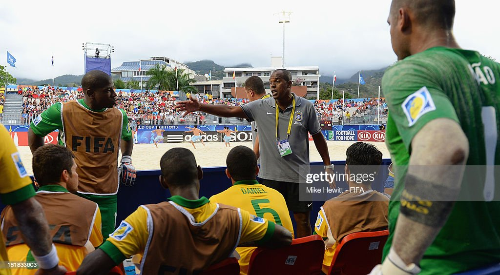 Brazil coach Junior Negao issues instructions during the FIFA Beach Soccer World Cup Tahiti 2013 Quarter Final match between Brazil and Japan at the Tahua To'ata Stadium on September 25, 2013 in Papeete, French Polynesia.