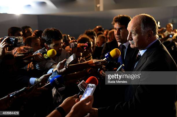 Brazil coach Luiz Felipe Scolari speaks to members of the media after the Final Draw for the 2014 FIFA World Cup Brazil at Costa do Sauipe Resort on...