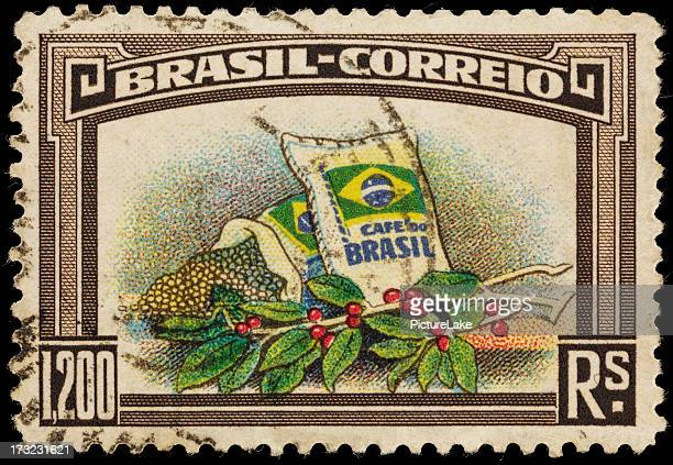 Brazil coffee beans and plant postage stamp