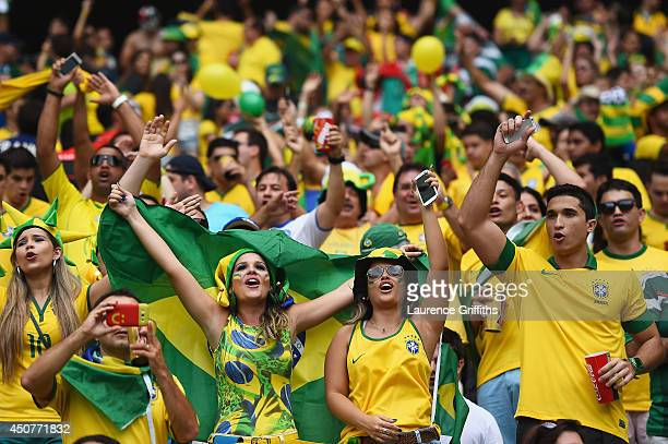 Brazil fans cheer prior to the 2014 FIFA World Cup Brazil Group A match between Brazil and Mexico at Castelao on June 17 2014 in Fortaleza Brazil