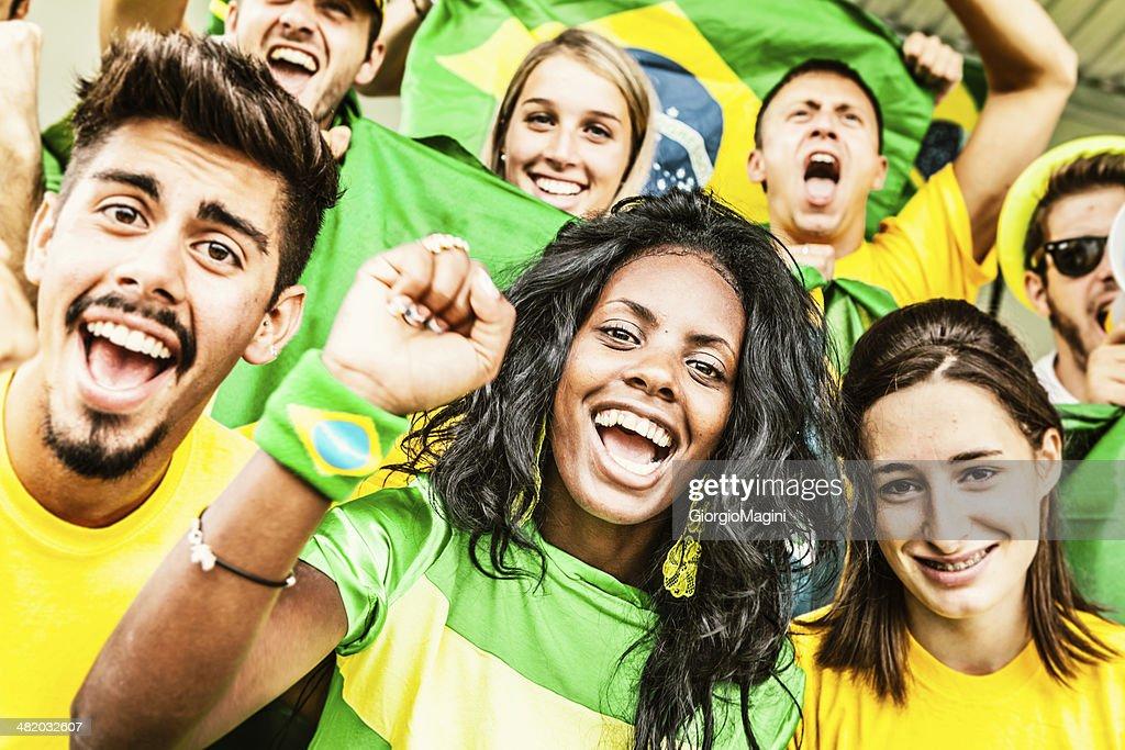 Brazil Fans Cheering at the Stadium