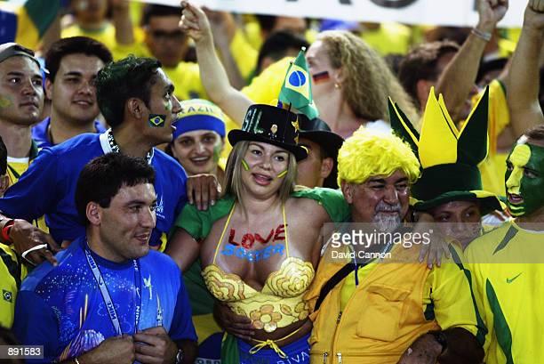 Brazil fans during the Germany v Brazil World Cup Final match played at the International Stadium Yokohama in Yokohama Japan on June 30 2002 Brazil...