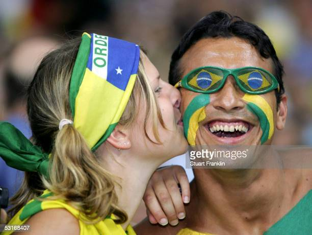 Brazil fans enjoy the atmosphere prior to the FIFA 2005 Confederations Cup Final between Brazil and Argentina at the Waldstadion on June 29 in...