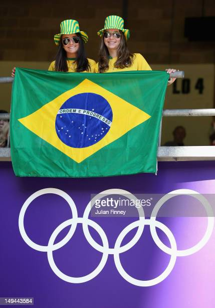 Brazil fans show their support during the Women's Football first round Group E match between New Zealand and Brazil on Day 1 of the London 2012...