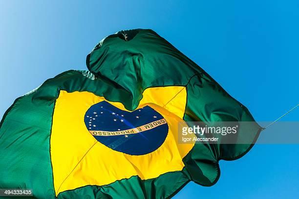 Brazil flag on blue sky