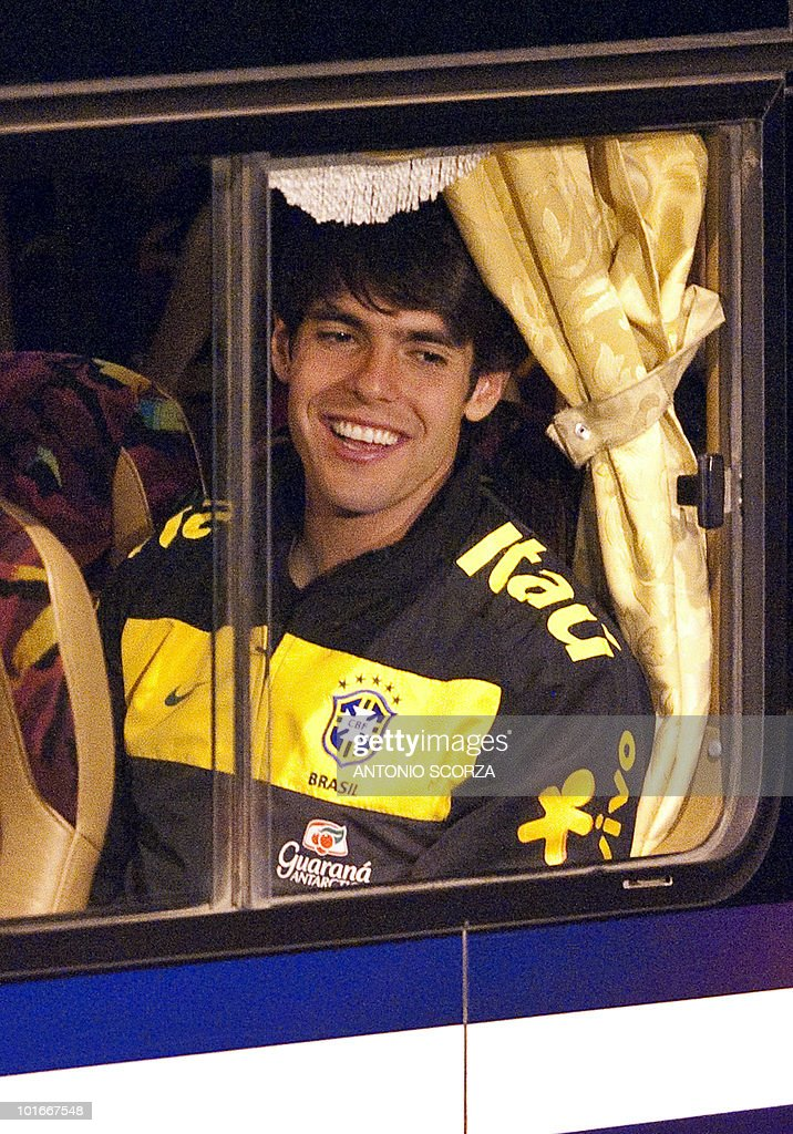 Brazil' football striker Kaka smiles as arrives in his team's bus at Dars El Salam airport to dispute a friendly match against Tanzania, on June 6, 2010 ahead of the 2010 FIFA World Cup held in South Africa.