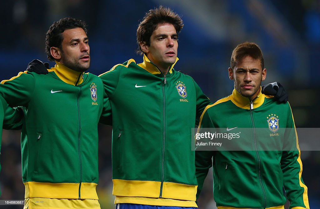 Brazil forward players (L-R) Fred, Kaka and Neymar line up during the International Friendly match between Russia and Brazil at Stamford Bridge on March 25, 2013 in London, England.