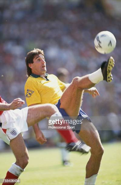 Brazil forward Renato Portaluppi attempts an overhead kick in the international friendly match between England and Brazil at Wembley Stadium in...