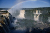 Brazil Foz do Iguacu A rainbow over the Floriana Falls
