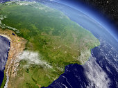Brazil with surrounding region as seen from Earth's orbit in space. 3D illustration with highly detailed planet surface and clouds in the atmosphere. Elements of this image furnished by NASA..