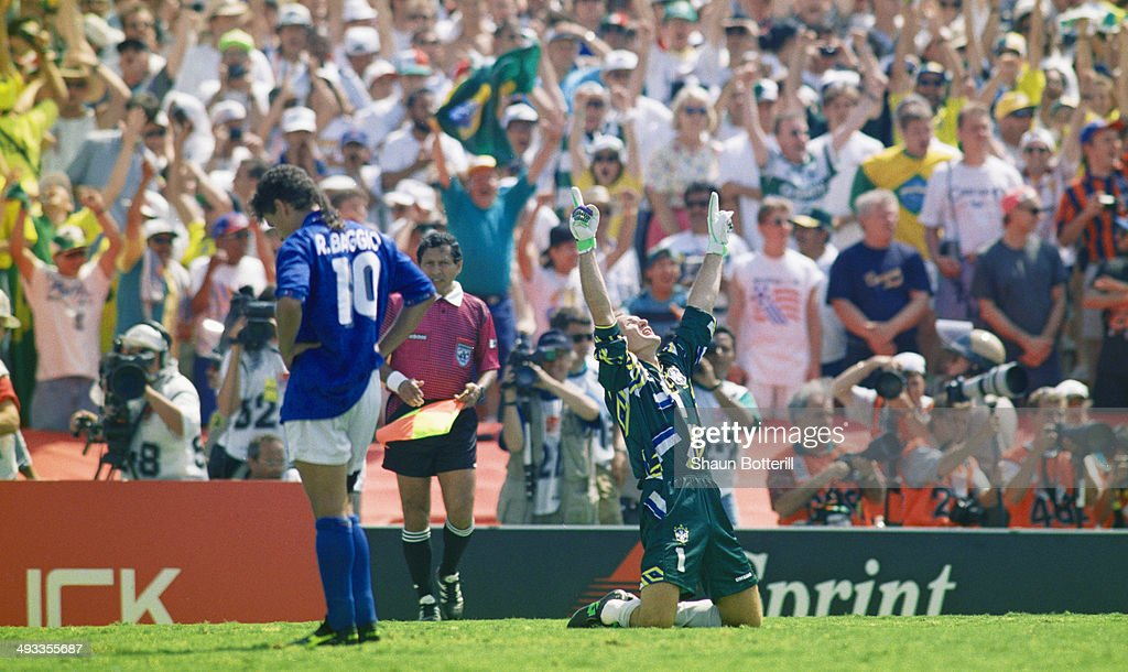 Brazil goalkeeper Taffarel celebrates after <a gi-track='captionPersonalityLinkClicked' href=/galleries/search?phrase=Roberto+Baggio&family=editorial&specificpeople=216586 ng-click='$event.stopPropagation()'>Roberto Baggio</a> of Italy had missed his penalty to decide the FIFA World Cup Final 1994 between Brazil and Italy at the Rose Bowl on July 17, 1994 in Pasadena, California, United Sates. Brazil beat Italy 3-2 in a penalty shootout to win the World Cup. Photo by Shaun Botterill/Getty Images)
