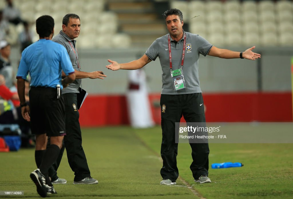 Brazil head coach Alexandre Gallo remonstrates with the fourth official during the FIFA U-17 World Cup UAE 2013 Round of 16 match between Brazil and Russia at the Mohamed Bin Zayed Stadium on October 28, 2013 in Abu Dhabi, United Arab Emirates.