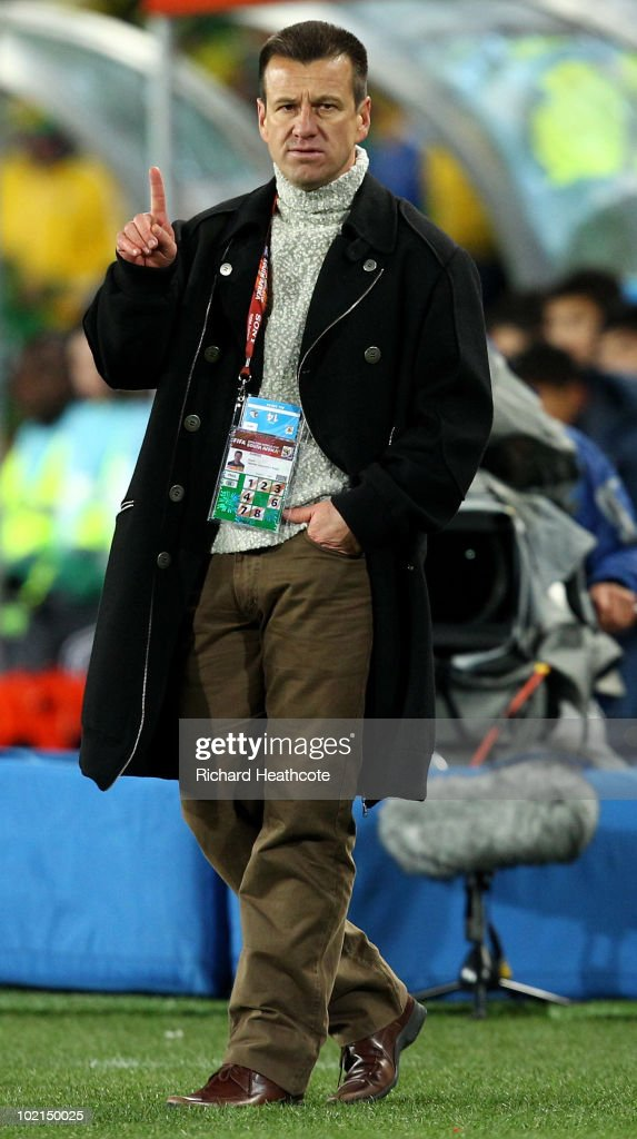 Brazil Head Coach, Dunga gives instructions during the 2010 FIFA World Cup South Africa Group G match between Brazil and North Korea at Ellis Park Stadium on June 15, 2010 in Johannesburg, South Africa.