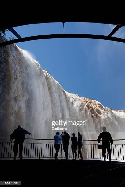 Brazil Iguazu Waterfalls with tourists