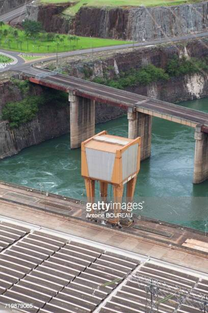 Brazil, Infrastructure of the dam of Itaipu Bi-national located at the border between Argentina and Brazil seen from the Brazilian side