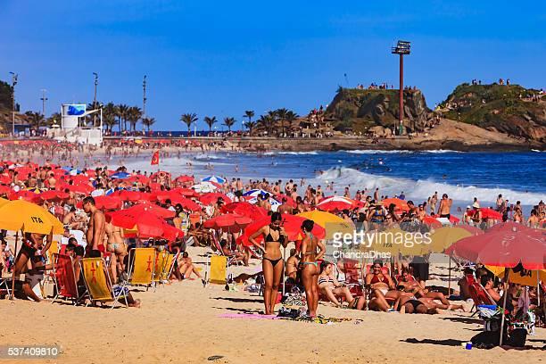 Brazil - Ipanema Beach, Rio de Janeiro, bikinis and umbrellas