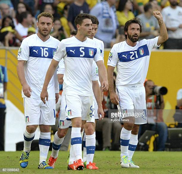 JANEIRO Brazil Italy midfielder Andrea Pirlo reacts after scoring on a free kick in the 27th minute of soccer's Confederations Cup Group A game...