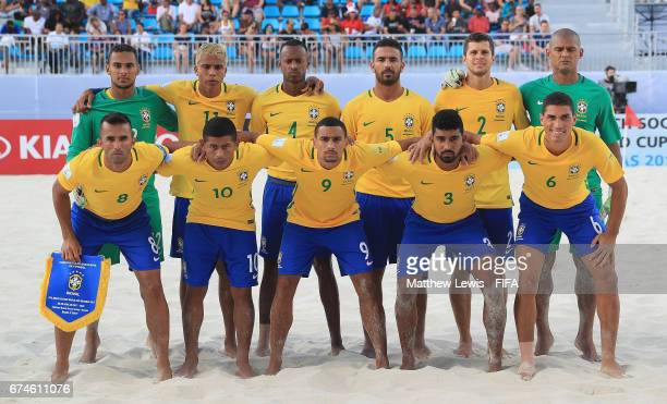 Brazil line up against Tahiti ahead of the FIFA Beach Soccer World Cup Bahamas 2017 group D match between Brazil and Tahiti held at National Beach...