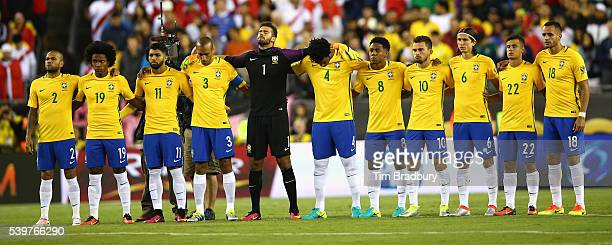 Brazil looks on prior to a 2016 Copa America Centenario Group B match against Peru at Gillette Stadium on June 12 2016 in Foxboro Massachusetts