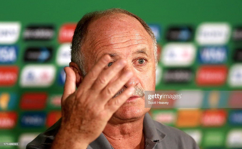 Brazil manager Luiz Felipe Scolari during a Brazil press conference ahead of their FIFA Confederations Cup 2013 Semi Final match against Uruguay on June 25, 2013 in Belo Horizonte, Brazil.