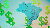 3D brazil Map With Dollar Sign Around It