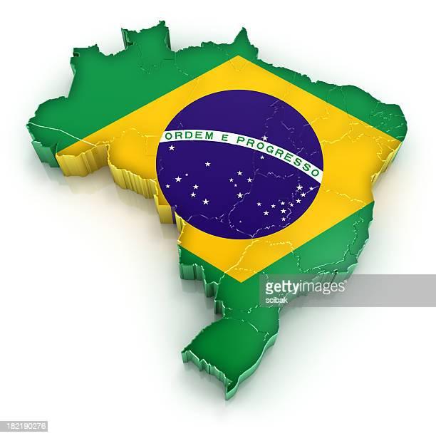 Carte du Brésil avec drapeau