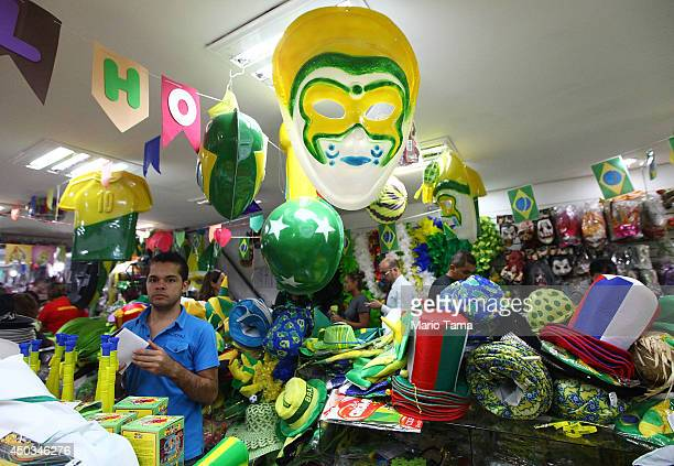 Brazil memorabilia is available for sale in a souvenir shop on June 9 2014 in Sao Paulo Brazil Sao Paulo will host the opening 2014 FIFA World Cup...