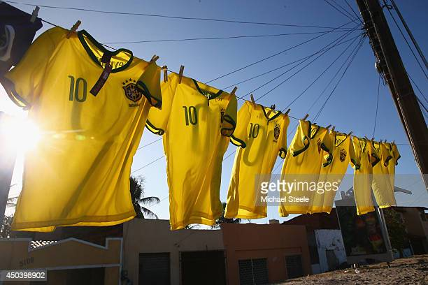 Brazil number 10 shirts for sale beside a main road at Serviluz favela on June 10 2014 in Fortaleza Brazil