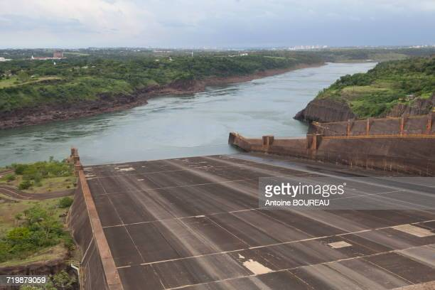 Brazil, Overflow or sluice of floods of the dam of Itaipu Bi-national located at the border between Argentina and Brazil seen from the Brazilian side