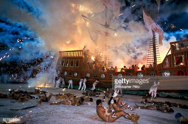 Brazil Parintins During the Boi Bumba carnival celebrations a large float in the form of a ship reenacts the arrival of the Spanish Conquistadores as...