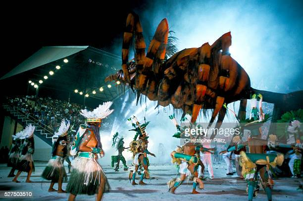 Brazil Parintins The Boi Bumba carnival and a group of participants dance to the 'Tucandeira' an indian ritual with giant insects and give an...