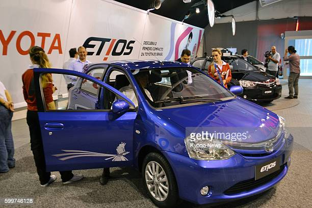 SAO PAULO Brazil Photo shows Toyota Motor Corp's Etios model displayed in Sao Paulo Brazil on Aug 8 2012 The vehicle has been manufactured on a trial...
