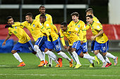 Brazil players celebrate after winning a penalty shootout during the FIFA U20 World Cup New Zealand 2015 Round of 16 match between Brazil and Uruguay...