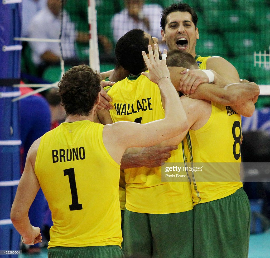 Brazil players celebrate during the FIVB World League Final Six match between Russia and Brazil at Mandela Forum on July 17, 2014 in Florence, Italy.