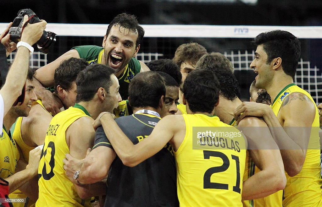 Brazil players celebrate during the FIVB World League Final Six semifinal match between Italy and Brazil at Mandela Forum on July 19, 2014 in Florence, Italy.