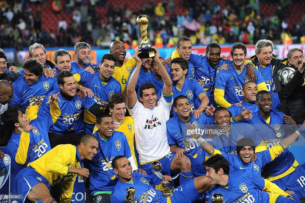 Brazil players celebrate winning the 2009 Confederations Cup final match between Brazil and USA from Ellis Park on June 28 2009 in Johannesburg South...