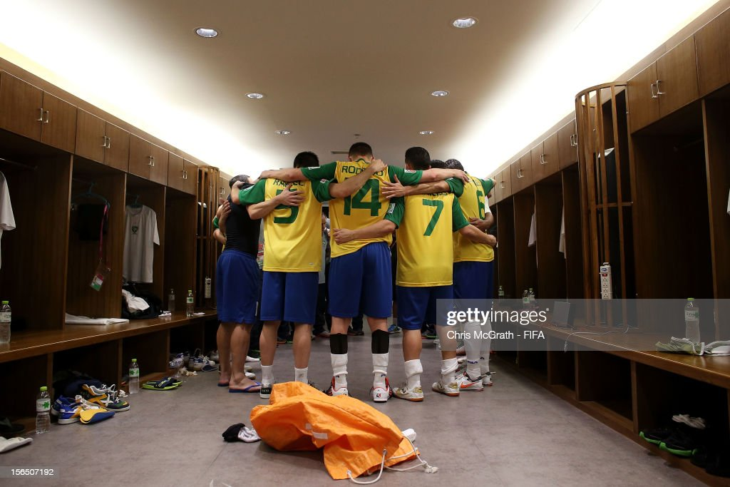 Brazil players huddle in the dressing room after defeating Colombia during the FIFA Futsal World Cup SemiFinal match between Brazil and Colombia at...