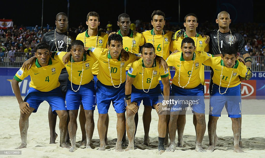Brazil pose for a team photo ahead of the FIFA Beach Soccer World Cup Tahiti 2013 3rd Place Playoff match between Brazil and Tahiti at the Tahua To'ata Stadium on September 28, 2013 in Papeete, French Polynesia.