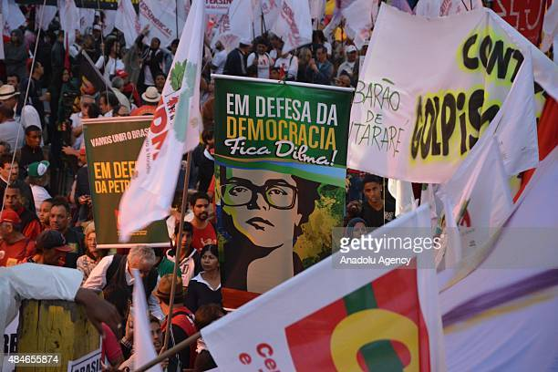 Brazil progovernment rally organized by social movements leftwing political parties and key workers' unions voice their objection to calls for the...