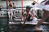 Brazil, Rio de Janeiro, girls in ballet class